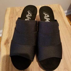 Cute black low wedge sandals